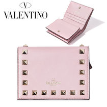 VALENTINO Street Style Plain Leather Folding Wallets