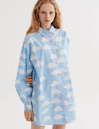 Dots Tropical Patterns Street Style V-Neck Long Sleeves