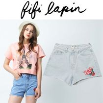 FIFI LAPIN Short Flower Patterns Casual Style Cotton