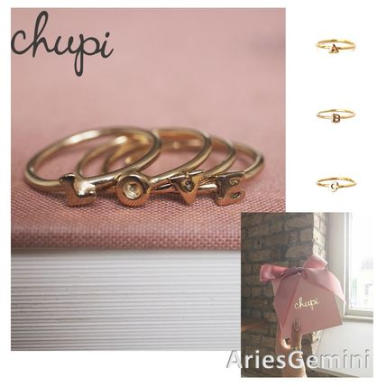 Casual Style Initial 18K Gold Rings