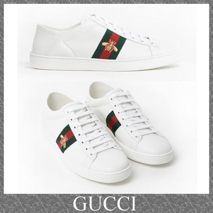 GUCCI Plain Toe Rubber Sole Street Style Plain Leather