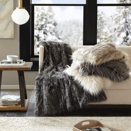 Suave faux leather throw blanket