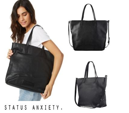 Unisex A4 2WAY Plain Leather Office Style Oversized Totes