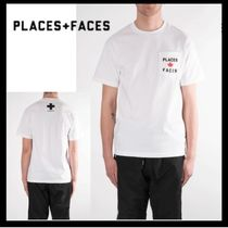 PLACES+FACES U-Neck Collaboration Plain Cotton Short Sleeves T-Shirts