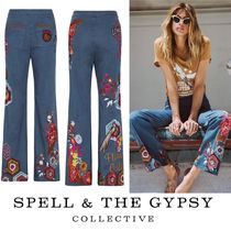 SPELL Flower Patterns Casual Style Denim Long Wide & Flared Jeans