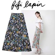FIFI LAPIN Flower Patterns Medium Wide Leg Pants