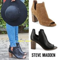 Steve Madden Open Toe Casual Style Plain Leather Block Heels Boots Boots