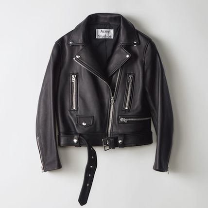 Acne Short Casual Style Plain Leather Biker Jackets