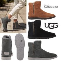 UGG Australia ABREE MINI Round Toe Casual Style Sheepskin Plain Ankle & Booties Boots