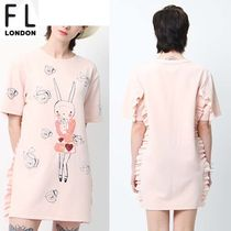 FIFI LAPIN Casual Style A-line Studded U-Neck Long Short Sleeves
