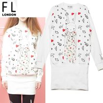 FIFI LAPIN Casual Style A-line Studded U-Neck Long Sleeves Cotton Long