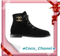 CHANEL Lace-up Casual Style Velvet Plain Lace-up Boots