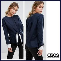 ASOS Crew Neck Long Sleeves Cotton Shirts & Blouses