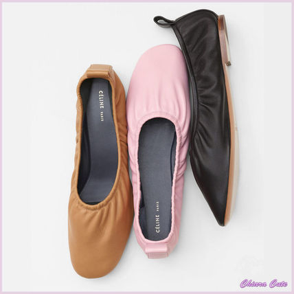 CELINE Round Toe Plain Leather Elegant Style Flats