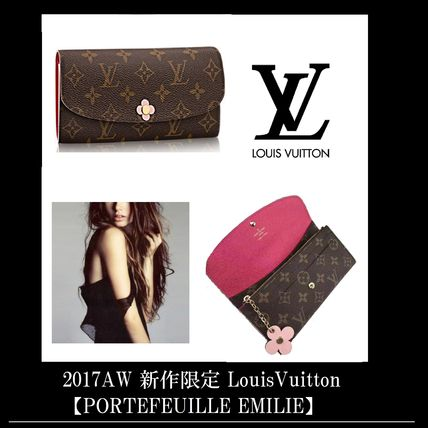 Louis Vuitton PORTEFEUILLE EMILIE Flower Patterns Monoglam Studded Leather Long Wallets