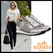 HERMES Plain Toe Casual Style Leather Low-Top Sneakers