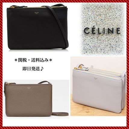 CELINE Trio Bag Lambskin Blended Fabrics 3WAY Plain Elegant Style