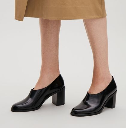 COS Round Toe Casual Style Leather Chunky Heels