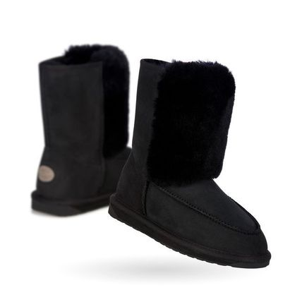 Round Toe Fur Plain Ankle & Booties Boots