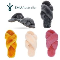 EMU Australia Open Toe Casual Style Fur Plain Slippers