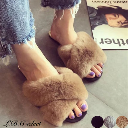 Open Toe Casual Style Faux Fur Plain Shower Shoes