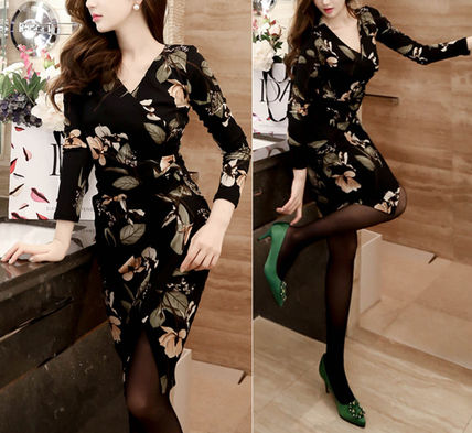 Dresses Wrap Dresses Flower Patterns V-Neck Long Sleeves Medium