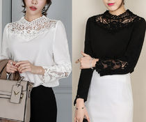 Flower Patterns Lace-up Long Sleeves Medium Party Style