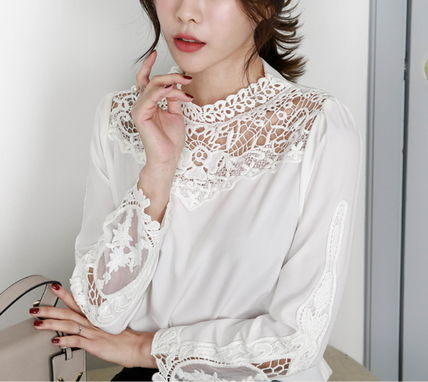 Shirts & Blouses Flower Patterns Lace-up Long Sleeves Medium Party Style 8