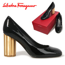 Salvatore Ferragamo Round Toe Plain Leather Block Heels Elegant Style