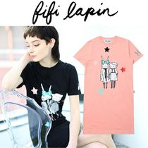 FIFI LAPIN Crew Neck Star Casual Style A-line Other Animal Patterns