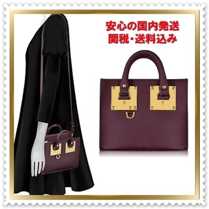 2WAY Plain Leather Elegant Style Totes
