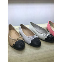 CHANEL Casual Style Bi-color Leather Ballet Shoes