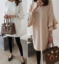 U-Neck Plain Medium Puff Sleeves Dresses