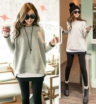 U-Neck Long Sleeves Plain Cotton T-Shirts