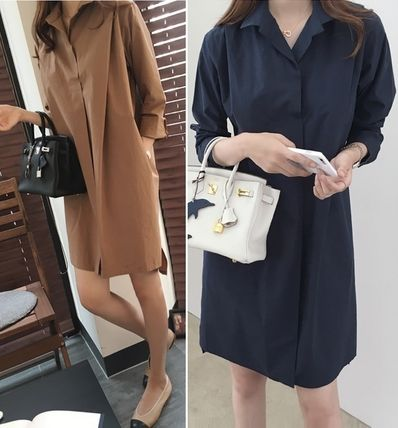 Plain Cotton Shirt Dresses Dresses
