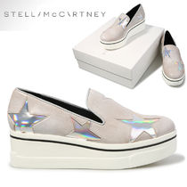 Stella McCartney Star Round Toe Casual Style Faux Fur Slip-On Shoes