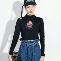 Short Casual Style Long Sleeves High-Neck Cropped