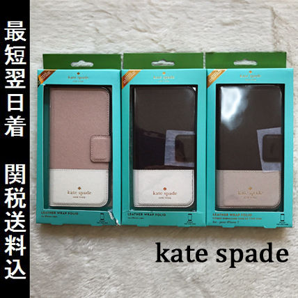 kate spade new york Bi-color Plain Leather Smart Phone Cases