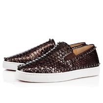 Christian Louboutin PIK BOAT Studded Leather Python Loafers & Slip-ons