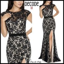 Decode 1.8 Flower Patterns Maxi Puffed Sleeves Long Lace Dresses