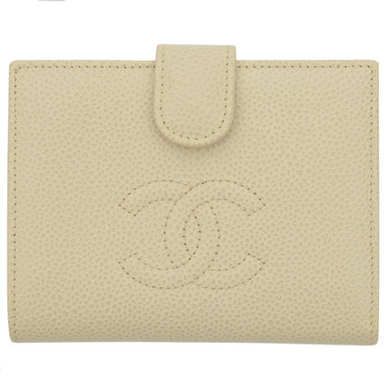CHANEL CAMBON Plain Leather Folding Wallets