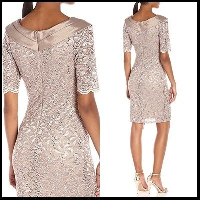 Decode 1.8 Dresses Flower Patterns Tight V-Neck Medium Short Sleeves Lace 2