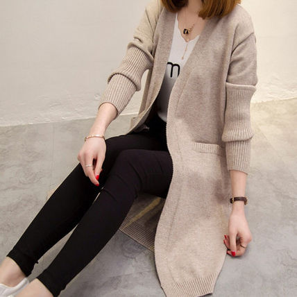 Casual Style Long Sleeves Plain Long Gowns Cardigans
