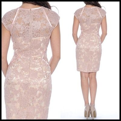 Decode 1.8 Short Flower Patterns Tight Lace Puff Sleeves Dresses