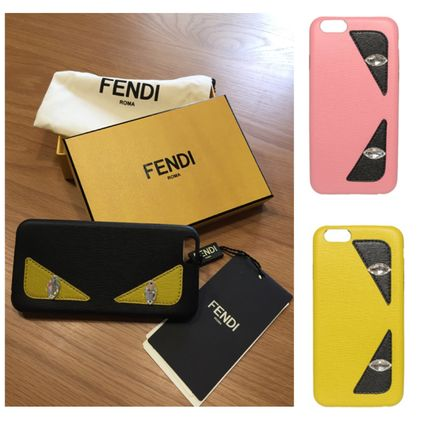 FENDI Unisex Plain Leather Smart Phone Cases