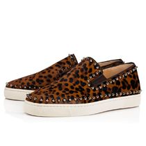 Christian Louboutin PIK BOAT Leopard Patterns Studded Loafers & Slip-ons