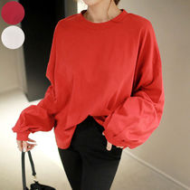 Street Style U-Neck Plain Cotton Medium T-Shirts