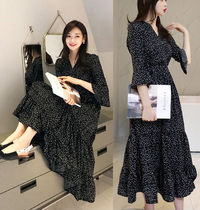 Dots Casual Style Flared V-Neck Cropped Long Dresses