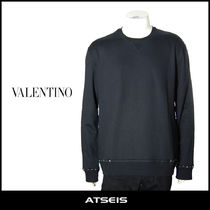 VALENTINO Crew Neck Pullovers Street Style Long Sleeves Plain Cotton