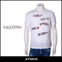 VALENTINO Crew Neck Pullovers Street Style Cotton Short Sleeves